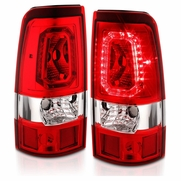 CG® 03-06 Chevy Silverado 1500 2500 3500 04-06 Sierra Red Clear LED Replacment Taillights Brake Lamp Set - Passenger and Driver Side