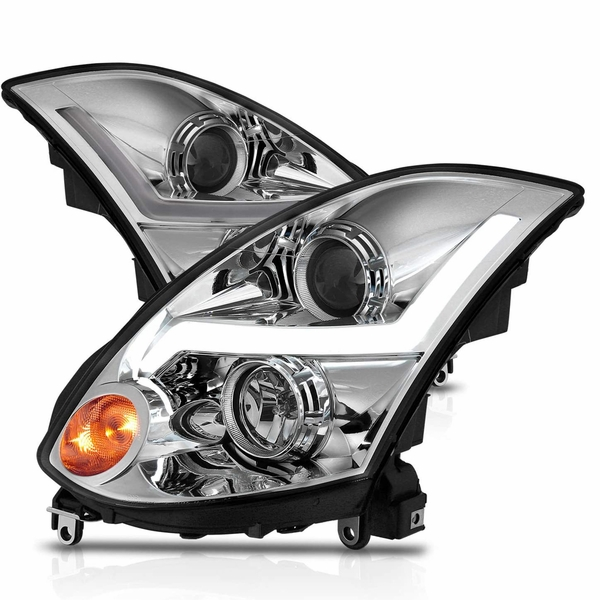 CG® 03-07 Infiniti G35 Coupe LED Sequential Signal DRL Projector Headlights - Black