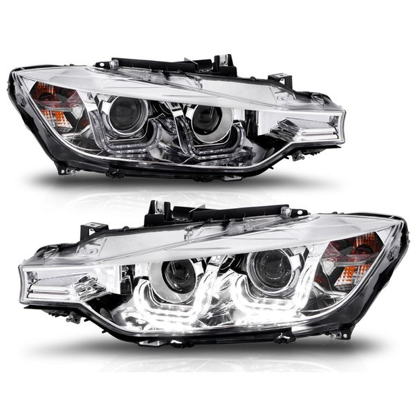12-16 BMW F30 3-Series [HID Model] U LED DRL Projector Headlights - Chrome