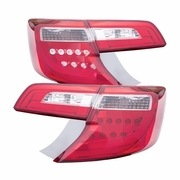 CG 12-14 Toyota Camry Fiber-Optic LED Performance Tail Lights - Red / Clear