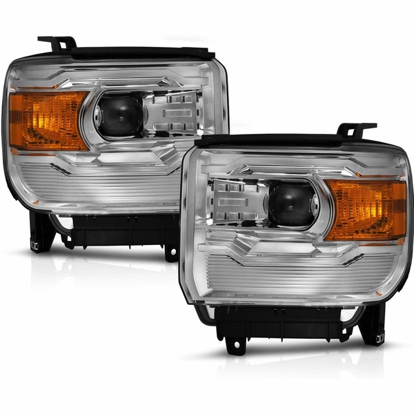 CG® 14-15 GMC Sierra 1500/15-17 2500/3500 Replacement Projector Headlight Assembly Pair Chrome - Driver and Passenger Side