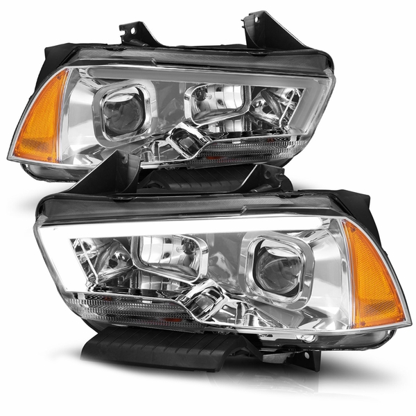CG® 2011-2014 Dodge Charger LED DRL Projector Headlights - Chrome