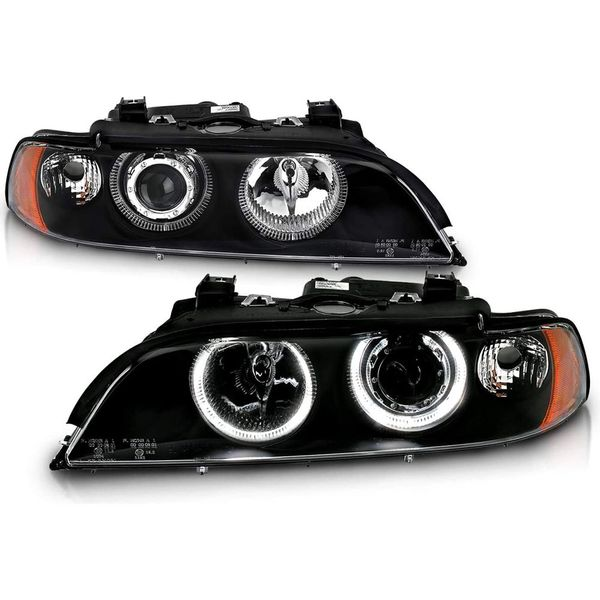 CG 97-01 BMW 5 Series E39 Angel Eye Halo Projector Headlights - Black