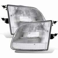 CG� 97-03 Ford F150 / Expedition / 97- 99 F250 Factory Style w/Bulb Chrome Replacement Corner Headlights Set - Passenger and Driver Side