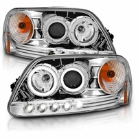 CG� 97-03 Ford F150 / Expedition / 97- 99 F250 LED DRL Halo Projector Headlights - Chrome