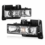 Chevy C10 CK 88-98 Halo Projector Headlights - Chrome