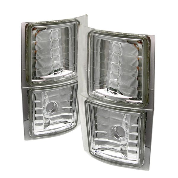 1994-1998 Chevy C10 C/K Tahoe/Suburban Chrome Clear Corner Lamps Signal Lights