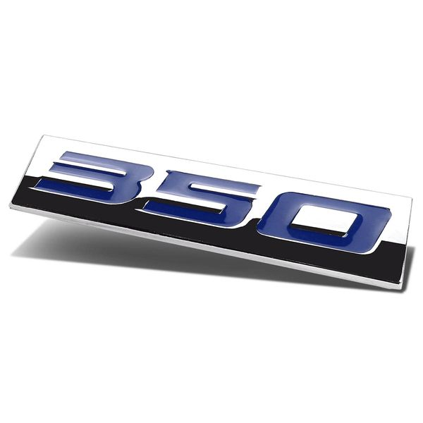 Chrome Finish Metal Emblem - 350 - Blue Letters