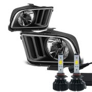 Cree LED Conversion Kit + 05-09 Ford Mustang Replacement Crystal Headlights - Black