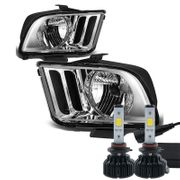 Cree LED Conversion Kit + 05-09 Ford Mustang Replacement Crystal Headlights - Chrome