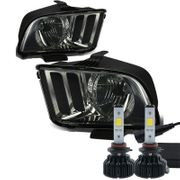 Cree LED Conversion Kit + 05-09 Ford Mustang Replacement Crystal Headlights - Smoked