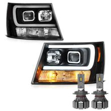 Cree LED Low Beam + 07-13 Chevy Avalanche / 07-14 Suburban Tahoe LED DRL Projector Headlights - Black