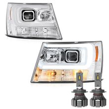 Cree LED Low Beam + 07-13 Chevy Avalanche / 07-14 Suburban Tahoe LED DRL Projector Headlights - Chrome