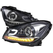 DEPO 12-14 Benz W204 C-Class Projector Headlights [LED Signal] - Black