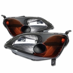 DNA 01-03 Honda Civic Sedan & Coupe JDM Style Crystal Headlights - Black