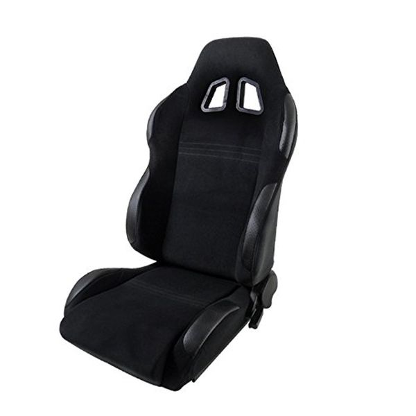 [Driver Side] Black Cloth PVC Leather Patch Reclinable Racing Seat L w/Sliders