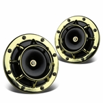 Dual Super Loud Blast Tone 12V Electric Grille Mount Compact Horns Gold