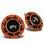 Dual Super Loud Blast Tone 12V Electric Grille Mount Compact Horns Orange