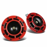 Dual Super Loud Blast Tone 12V Electric Grille Mount Compact Horns Red
