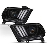 [Factory HID Model] 10-12 Ford Mustang Sequential Signal LED DRL Projector Headlights - Black