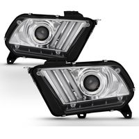 [Factory HID Model] 10-12 Ford Mustang Sequential Signal LED DRL Projector Headlights - Chrome