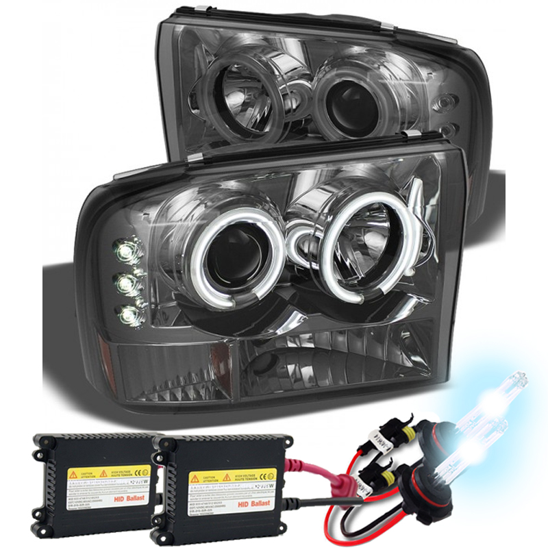 Hid Xenon 9904 Ford F250 F350 F450 Superduty Excursion Angel Eye Halo Led Projector Headlights Smoked: Ford Excursion Headlight Wiring At Hrqsolutions.co