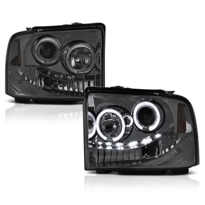 2005-2007 Ford F250 / F350 / F450 SuperDuty Angel Eye Halo & LED Strip Projector Headlights - Smoked