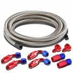 """Fuel Tank Gas Cell 6AN to 10AN Fittings+12"""" Nylon Braided Return Hose Feed Line Kit (Silver)"""