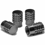 Granade Style Aluminum Polished Tire Valve Stem Covers / Caps - Black