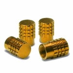 Granade Style Aluminum Polished Tire Valve Stem Covers / Caps - Gold