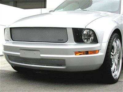 Grillcraft Mx-Series F5020-21S 05-09 Ford Mustang Grille Upper + Lower (V6 Model) Will Not Fit Pony Light Grille Package Silver