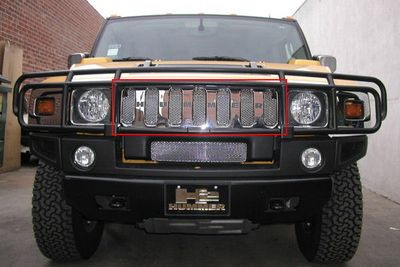 Grillcraft Mx-Series Hum-2502-B 03-07 Hummer H2 Grille Upper (For Vehicles With O.E.M Grille Gard) Black