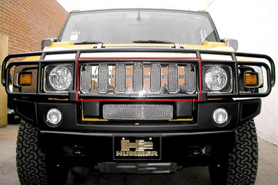 Grillcraft Mx-Series Hum-2502-S 03-07 Hummer H2 Grille Upper (For Vehicles With O.E.M Grille Gard) Silver