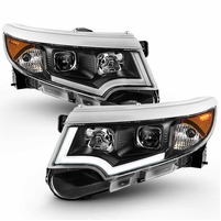 [Halogen Model Only] 2011-2014 Ford Edge Black Housing LED DRL Projector Headlights