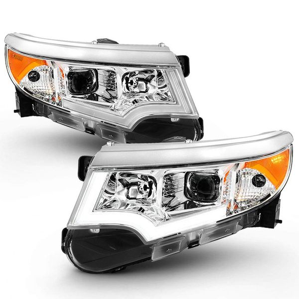 [Halogen Model Only] 2011-2014 Ford Edge Chrome Housing LED DRL Projector Headlights
