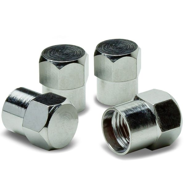 Hexagon Style Alloy Coated & Polished Silver Chrome Tire Valve Stem Caps (Pack of 4)
