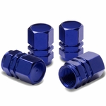 Hexagon Style Polished Aluminum Light Weight Tire / Rim Valve Caps - Blue