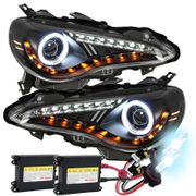 HID Bi-Xenon + 13-14 Scion FR-S FRS Angel Eye Halo (CCFL Upgrade) & LED DRL Projector Headlights - Black