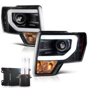 HID Low Beam + 09-14 Ford F150 Optic-DRL Performance Projector Headlights - Black