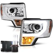 HID Low Beam + 09-14 Ford F150 Optic-DRL Performance Projector Headlights - Chrome