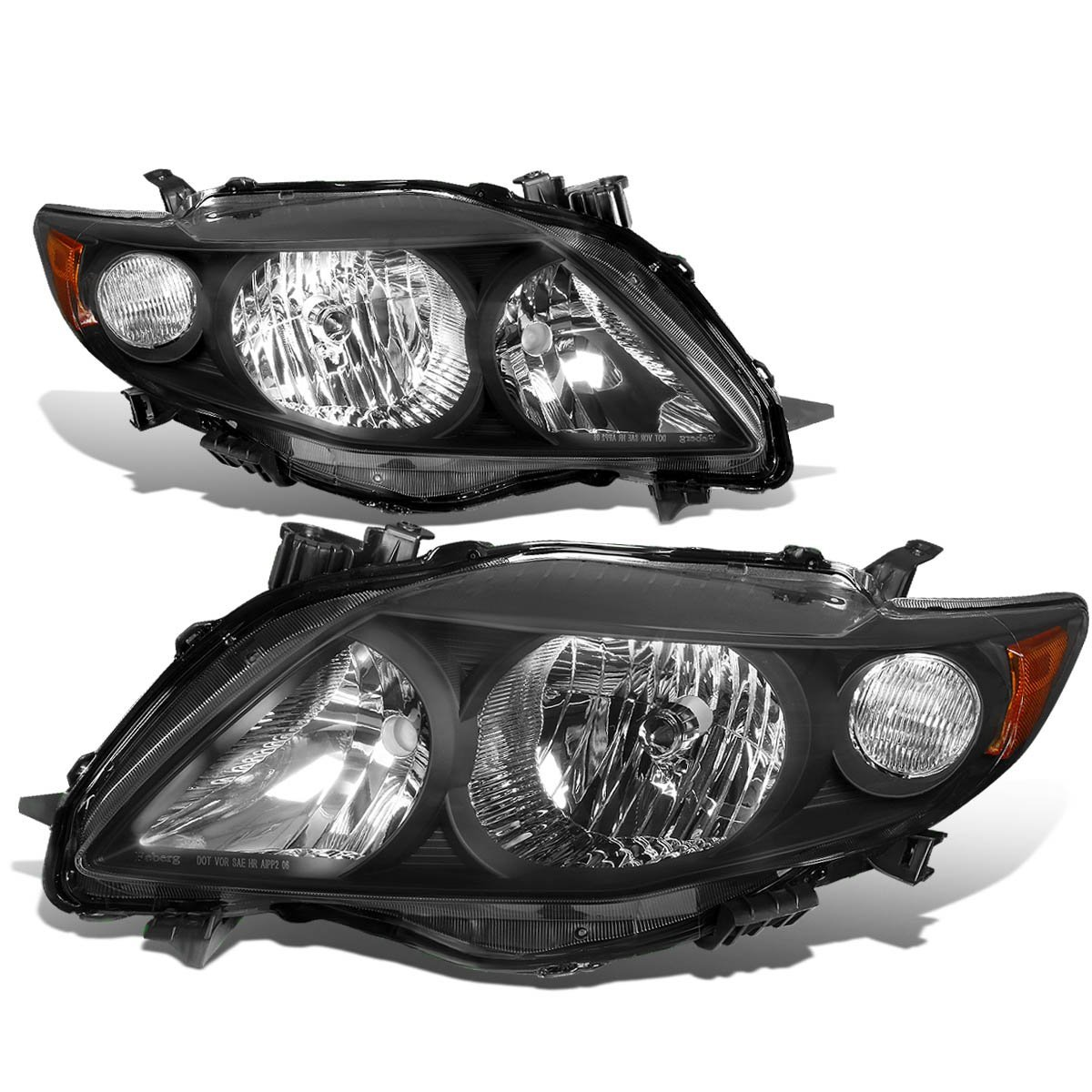 2009 2010 Toyota Corolla Replacement Crystal Headlights Black Click To Enlarge