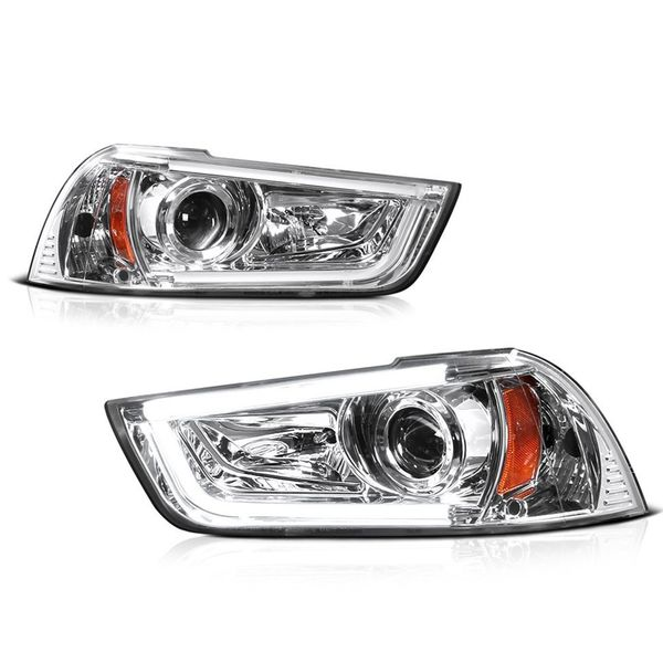2011-2014 Dodge Charger (Factory HID Model) LED DRL Tube Projector Headlights - Chrome