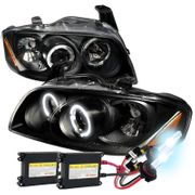 HID Xenon + 00-03 Nissan Sentra Halo LED DRL Projector Headlights Black