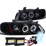HID Xenon + 00-03 Nissan Sentra Halo LED DRL Projector Headlights Gloss Black