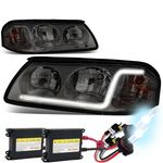 HID Xenon + 00-05 Chevy Impala LED DRL Tube Crystal Headlights - Smoked / Clear