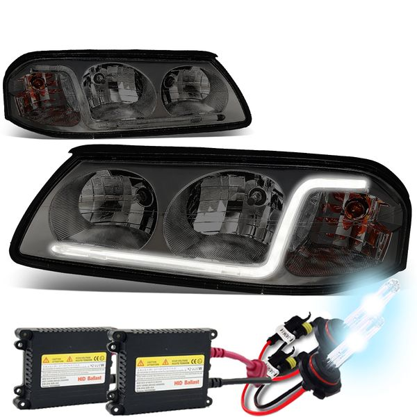HID Combo 00-05 Chevy Impala LED DRL Tube Crystal Headlights - Smoked / Clear