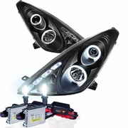 HID Xenon + 00-05 Toyota Celica Angel Eye Halo & LED Projector Headlights - Black