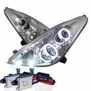 HID Xenon + 00-05 Toyota Celica Angel Eye Halo & LED Projector Headlights - Chrome