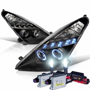 HID Xenon + 00-05 Toyota Celica Dual Angel Eye Halo & LED Projector Headlights - Black