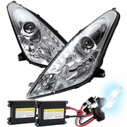 HID Xenon + 00-05 Toyota Celica LED DRL Projector Headlights - Chrome
